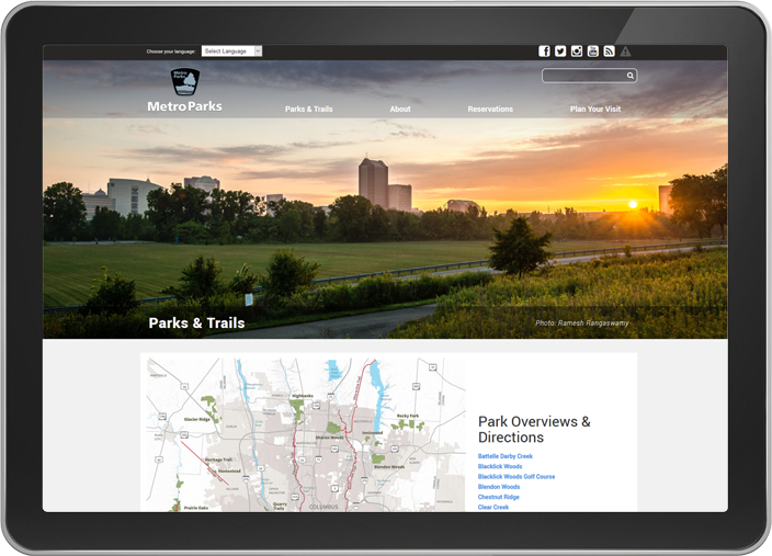 Metro Parks website on tablet screen