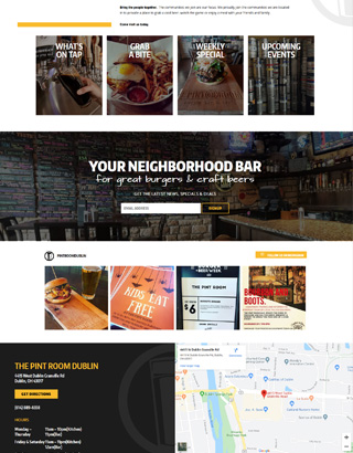The Pint Room website layout Dublin, OH