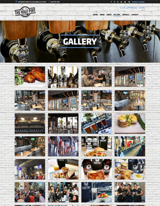 The Pint Room website layout photo gallery