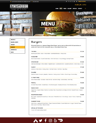 The Pint Room website layout food menu