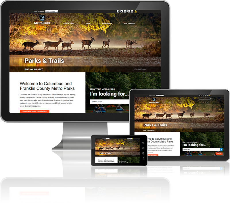 Metro Parks website on desktop, tablet, and mobile screens