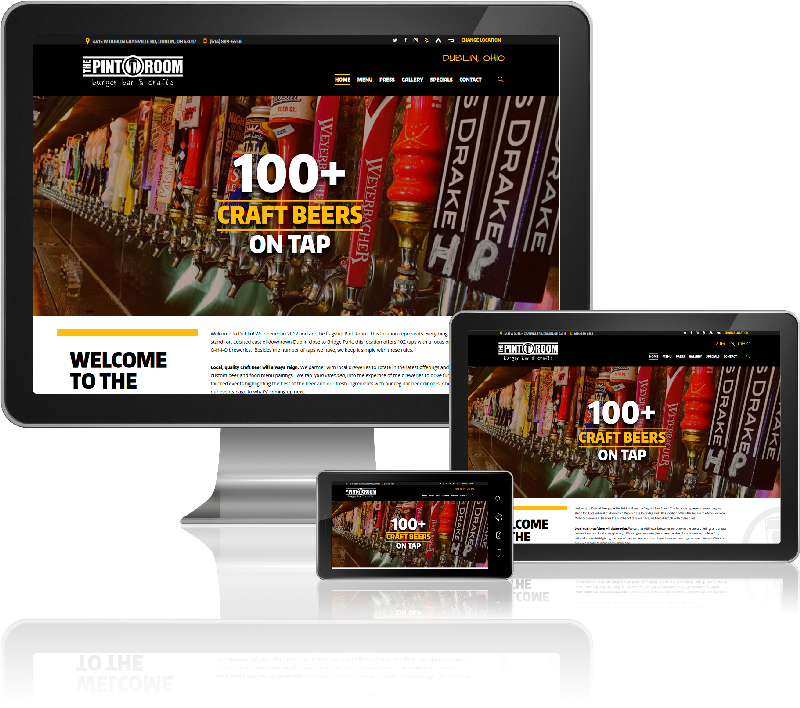 The Pint Room website on desktop, tablet, and mobile screens