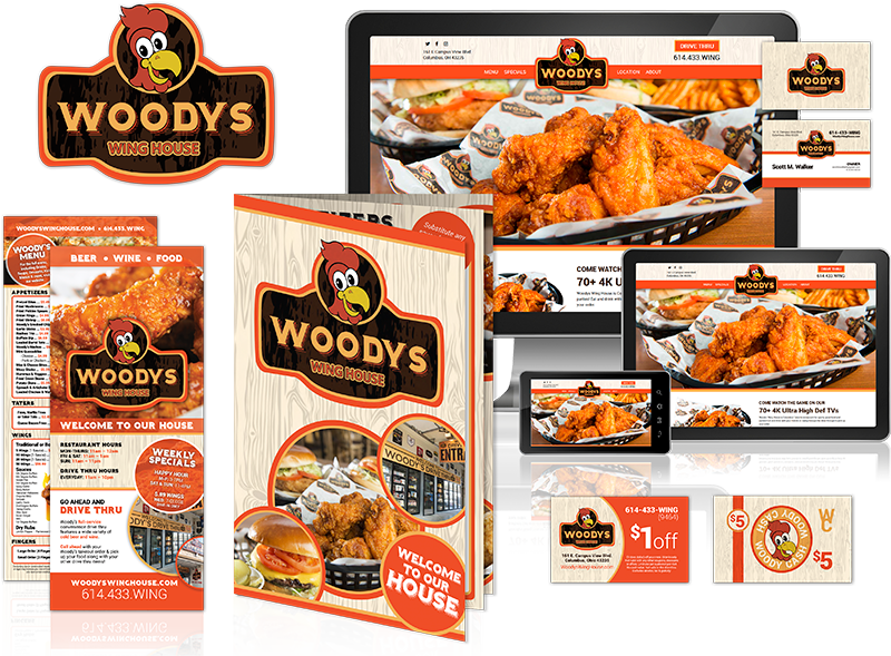 Woody's Wings multimedia design examples