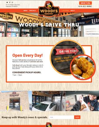 Woody's Wings website drive thru page
