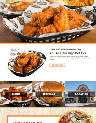 Woody's Wings website layout home page