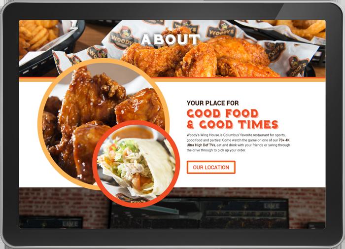 Woody's Wings website on tablet screen