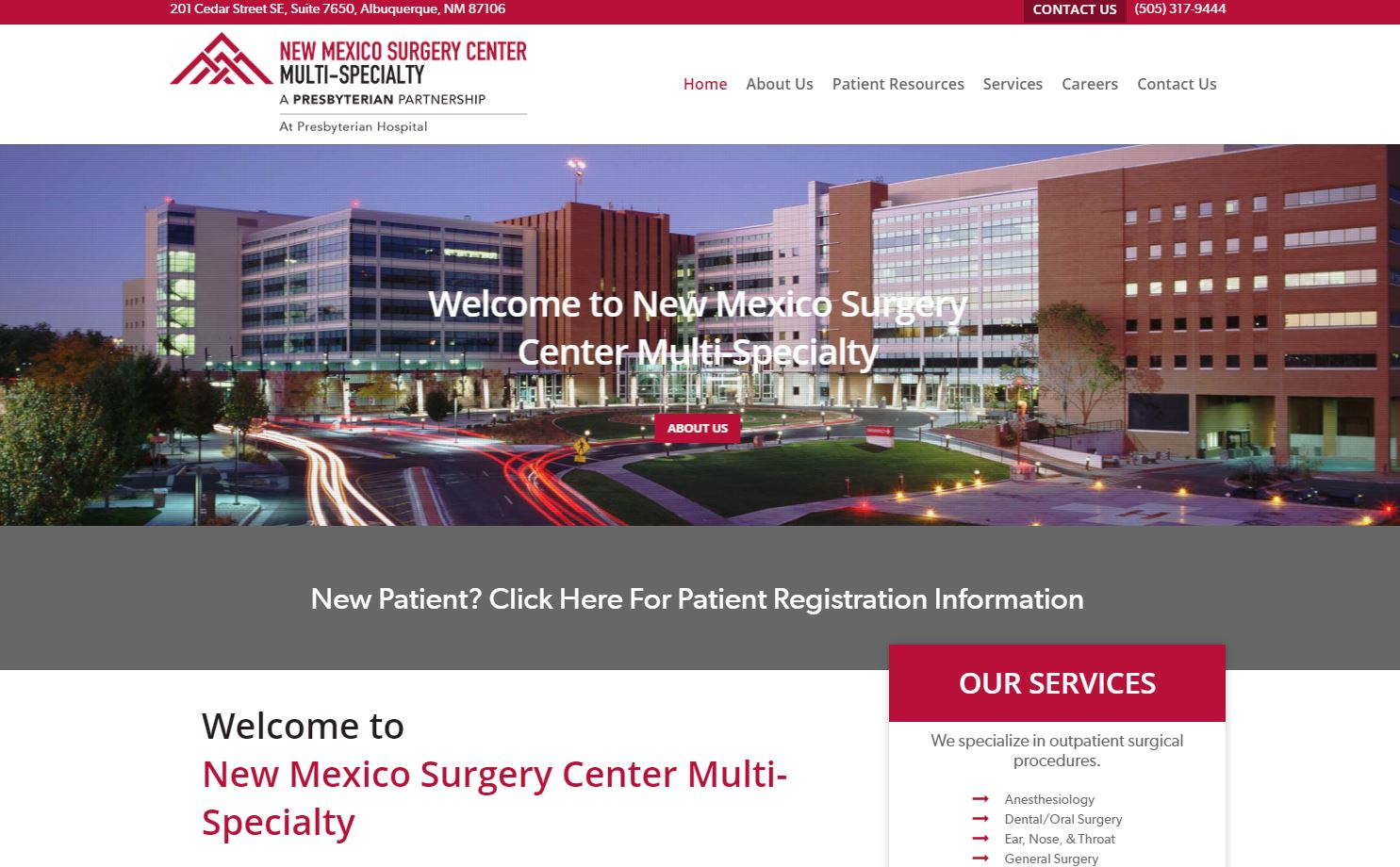 new mexico surgery center WordPress website mobile responsive custom design