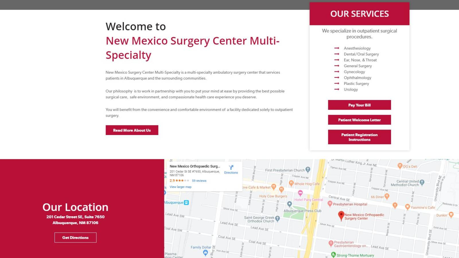 new mexico surgery center website WordPress Mobile Responsive