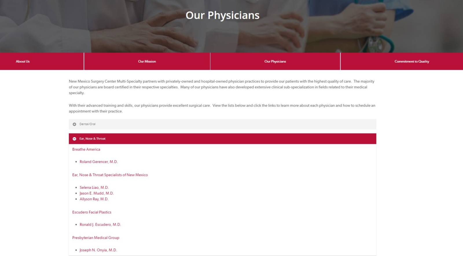 new mexico surgery center physicians page WordPress