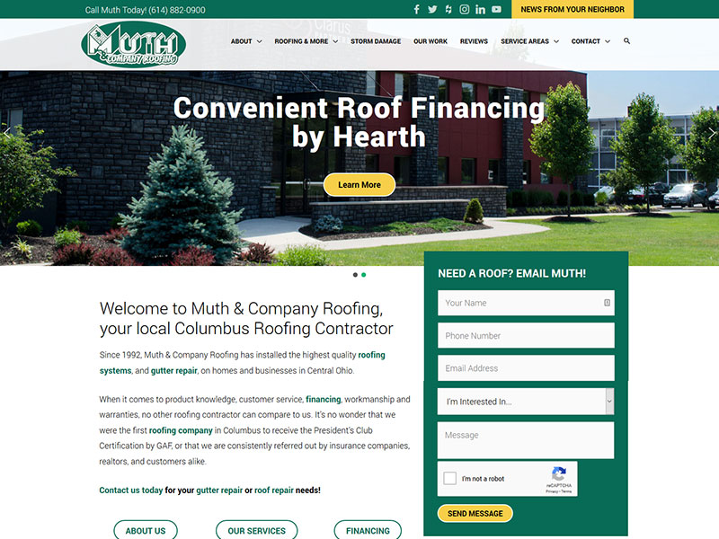 Wordpress build muth & company roofing