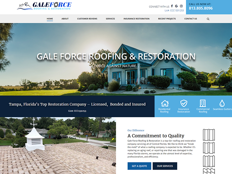 word press, roofing, gale,force design