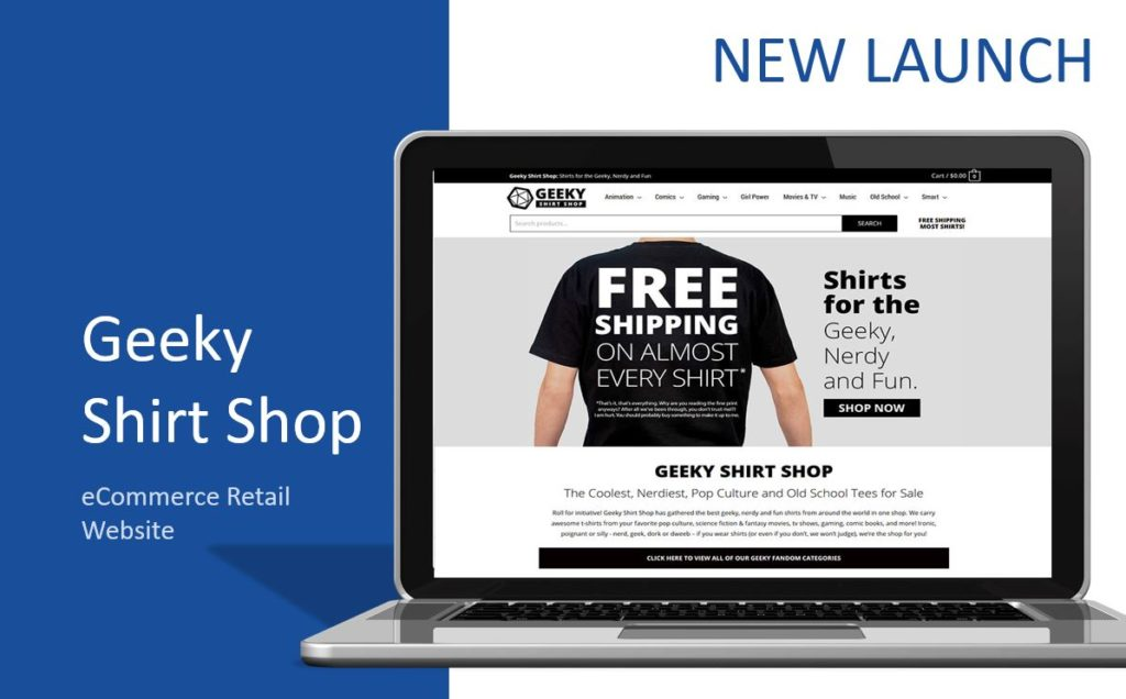 Geeky Shirt Shop eCommerce retail website on a laptop