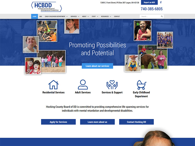 wordpress redesign and build for hocking county board of developmental disabilities