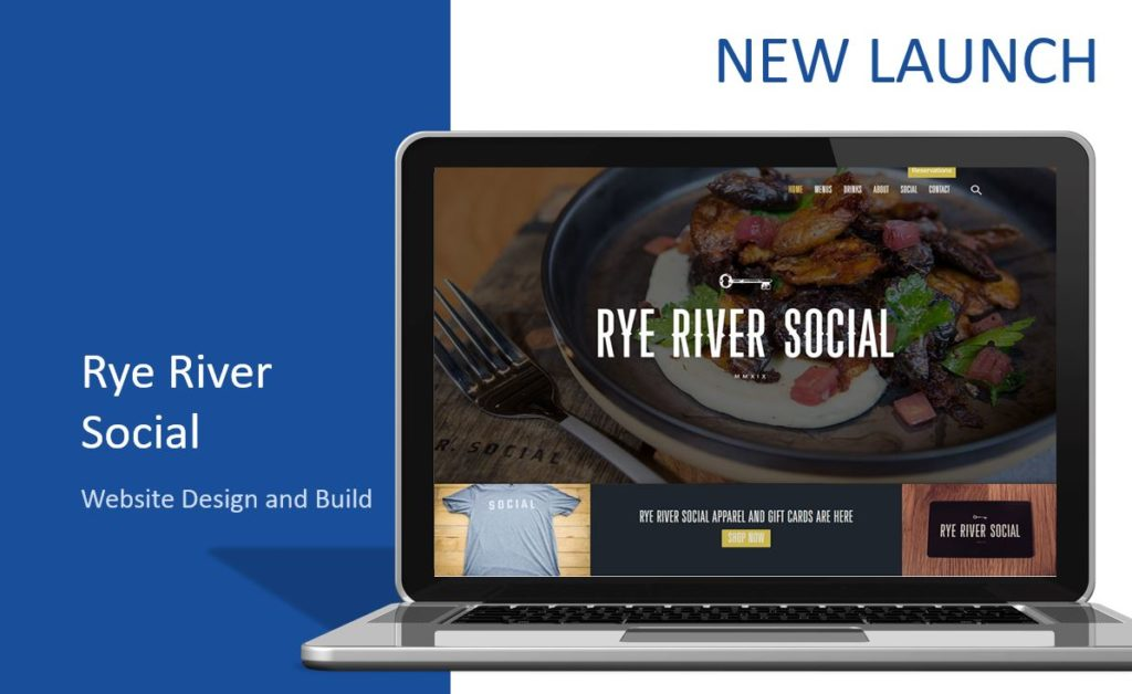 Rye River Social Restaurant Website Design on a Laptop
