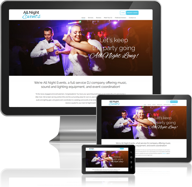 All Night Events Desktop and Mobile Website Design