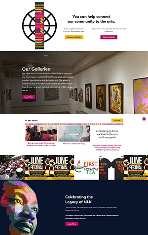 King Arts Complex Website Home Page