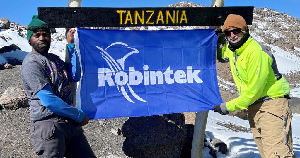 Robintek flag on Mount Kilimanjaro