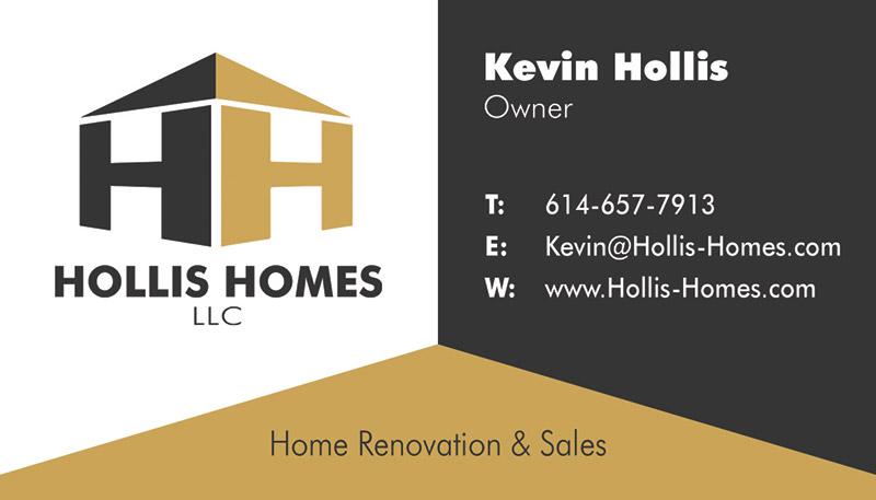 Hollis Homes Columbus Home Renovation Business Card Design