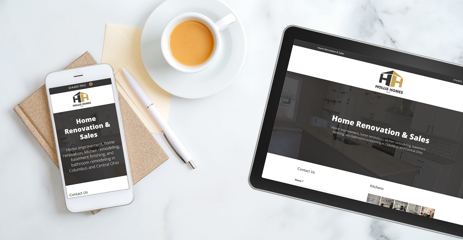 Hollis Homes website on phone and tablet