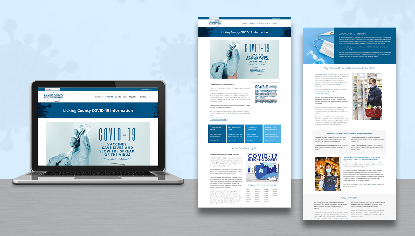 covid-19 landing page design for Licking County Health Department