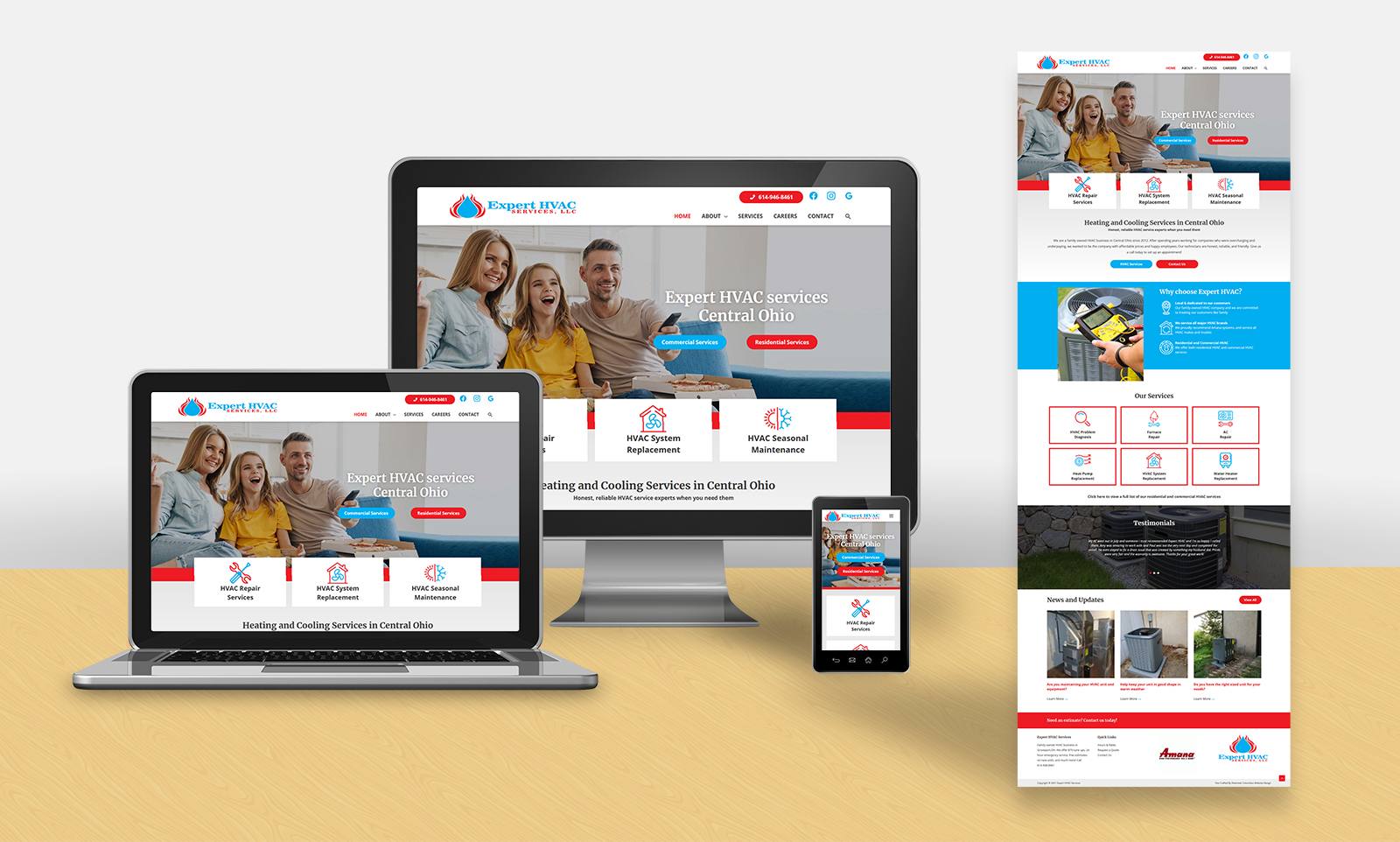 website redesign layout for Expert HVAC Services