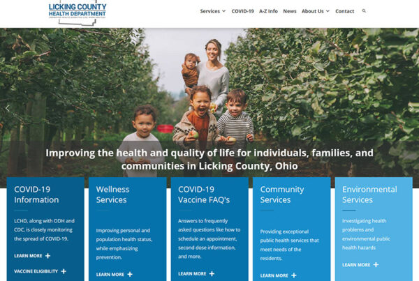 Columbus Ohio Licking County Health Department website design and build