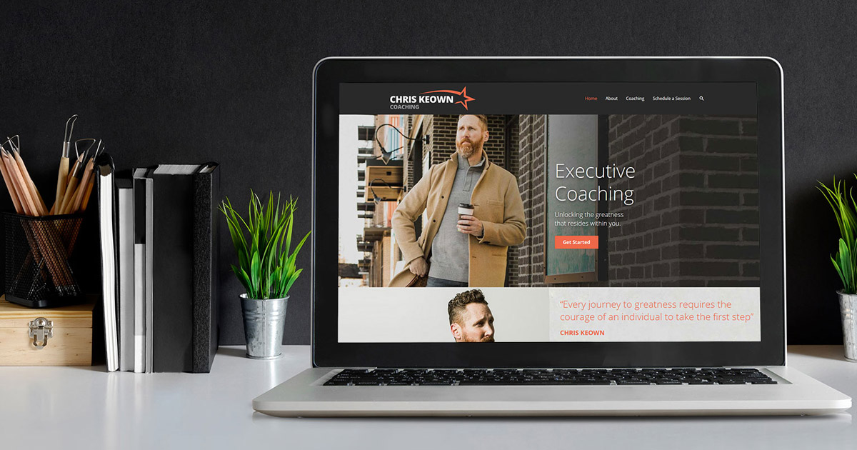 Website Design for Chris Keown shown on laptop
