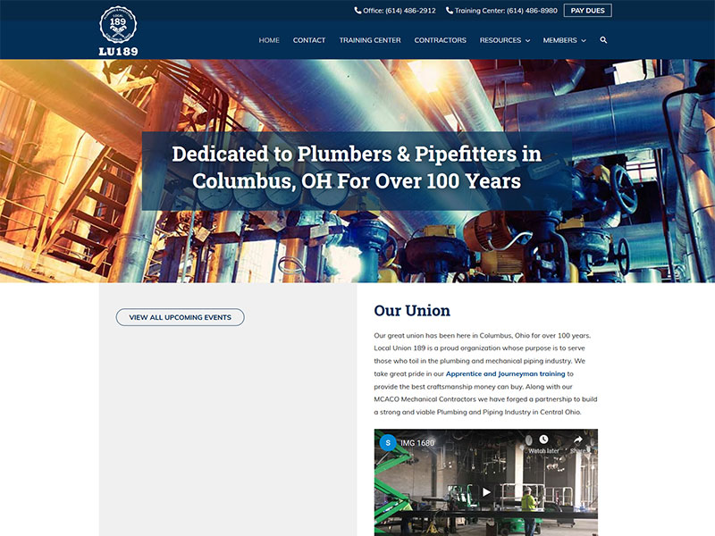 Columbus UA Local 189 plumbers and pipefitters website redesign and rebuild