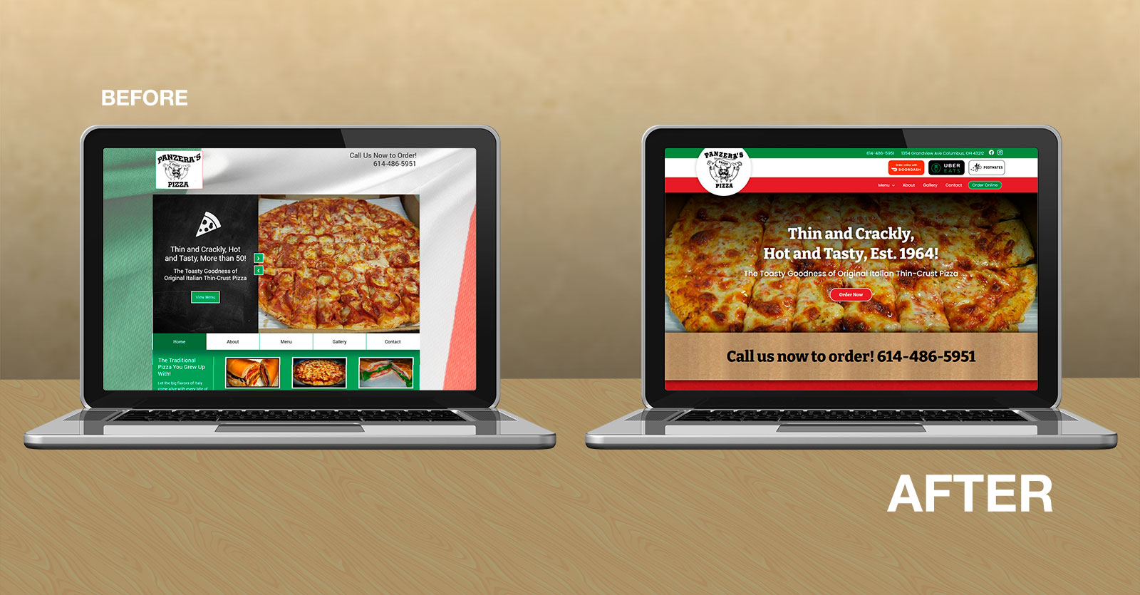 Panzera's Pizza Website Design before and after images on laptops