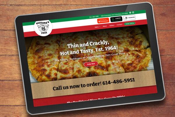Panzera's Pizza Website Design by Robintek on a tablet