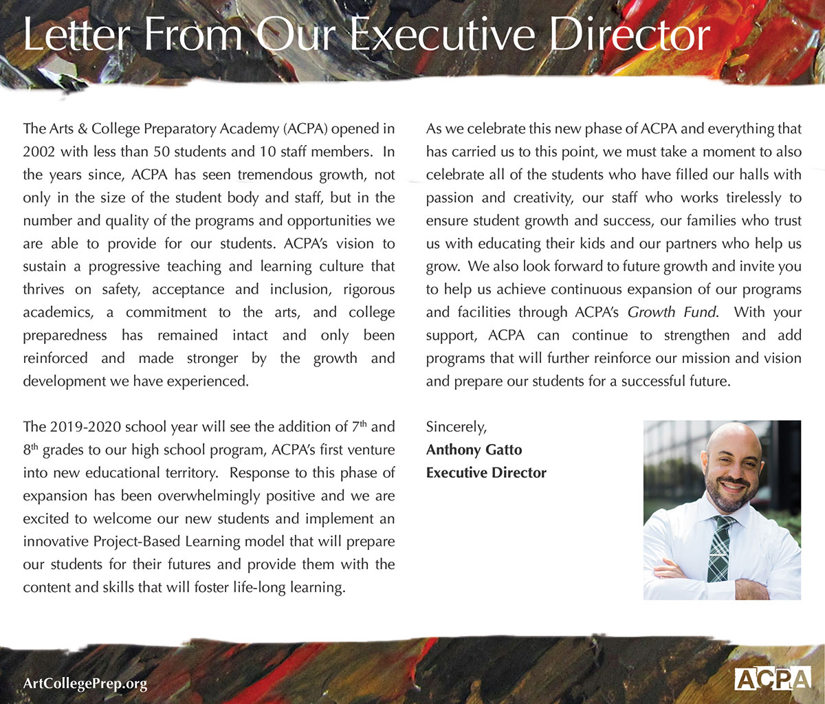 Letter from Our Executive Director ACPA Flyer Design