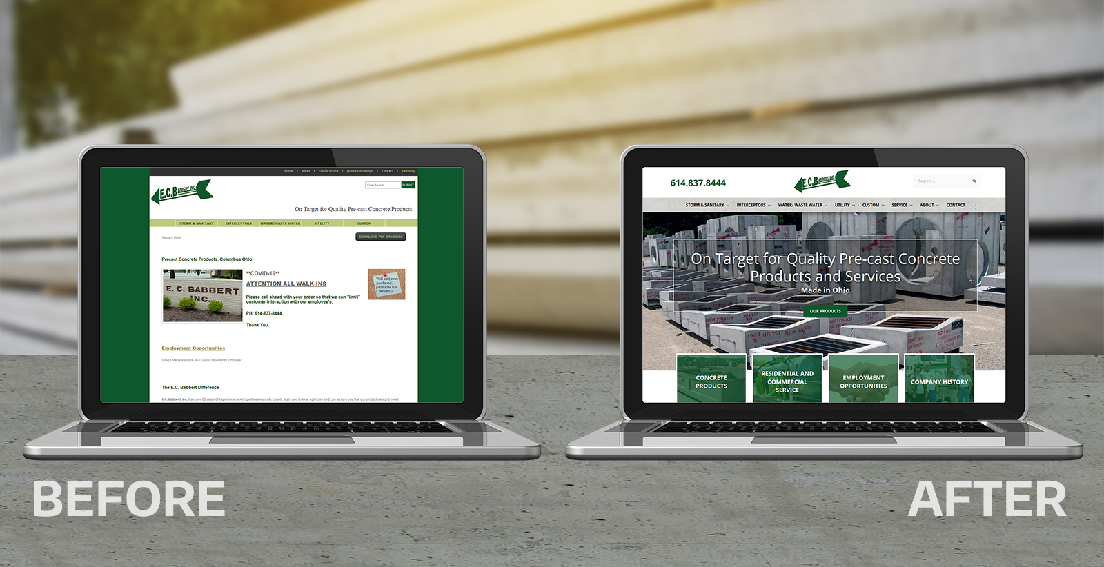 EC Babbert Inc new website design by Robintek before and after