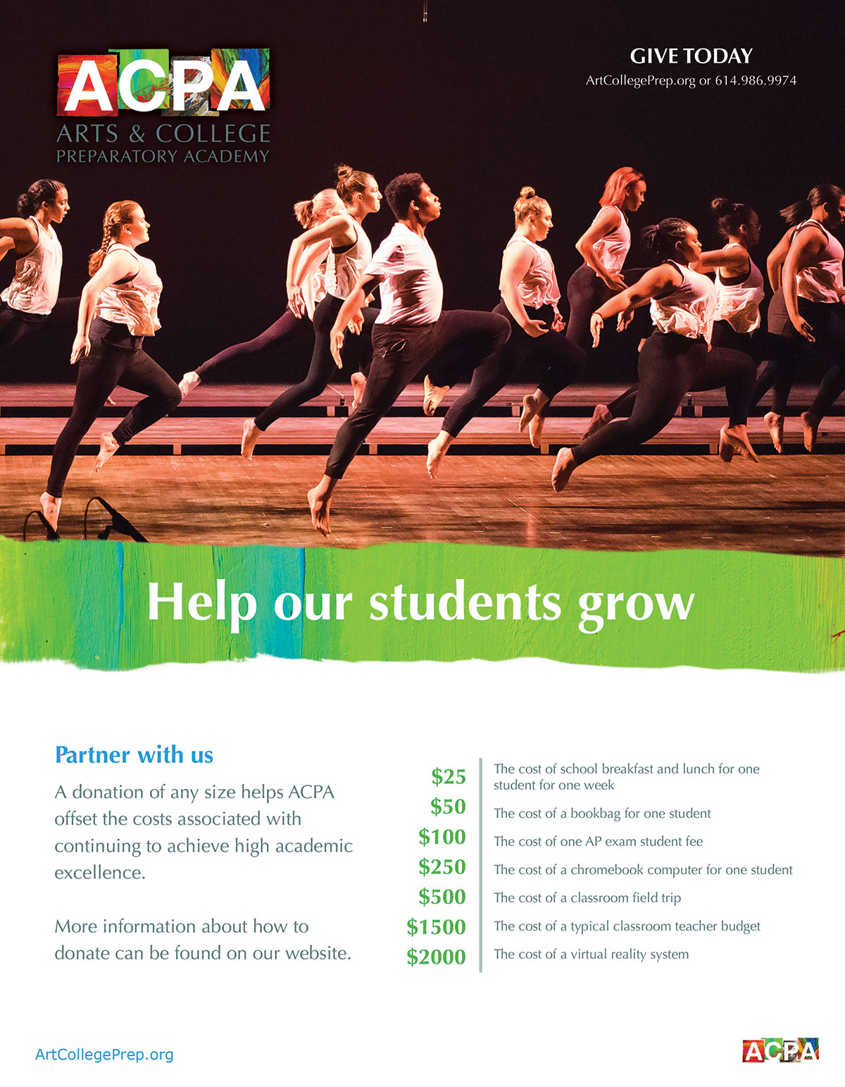 ACPA high school giving campaign flyer design