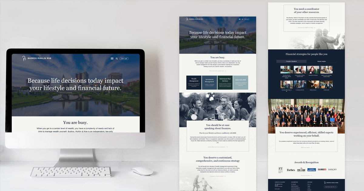 Homepage website design for Budros Ruhlin and Roe shown on desktop and in full