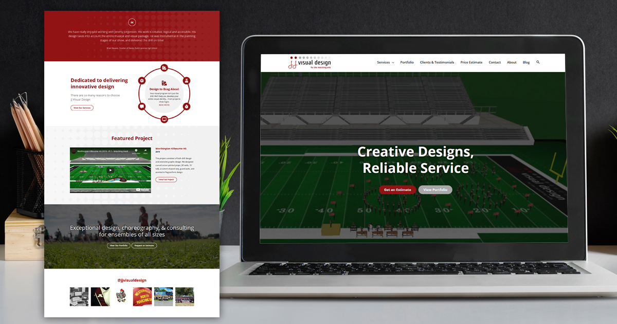 JJ Visual Design website design detail image and on laptop