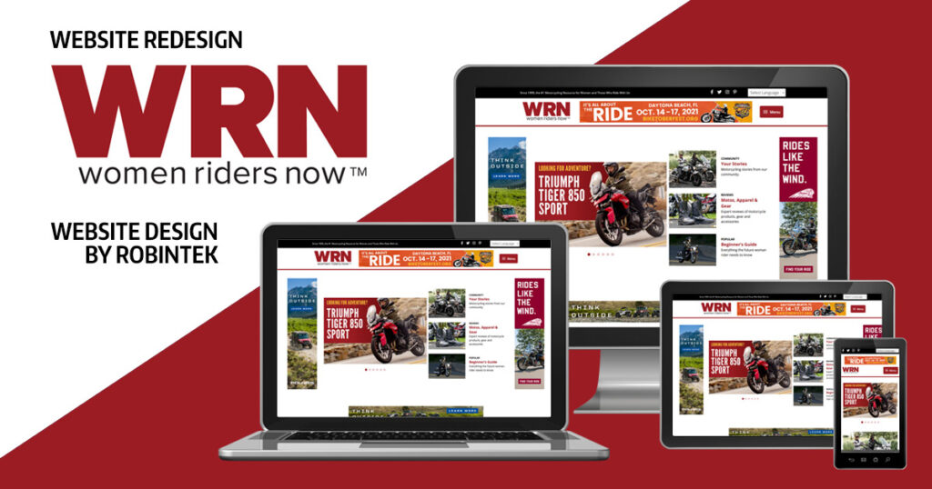 Women Riders Now (WRN) website redesign layout by robintek shown on multiple devices