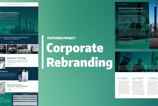 """print and web design layouts on a green backdrop with the text """"featured project: Corporate rebranding"""""""