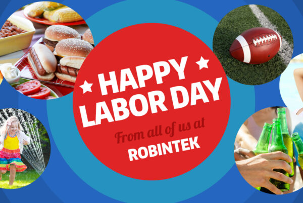 Happy Labor Day from Robintek graphic including text and images of labor day activities