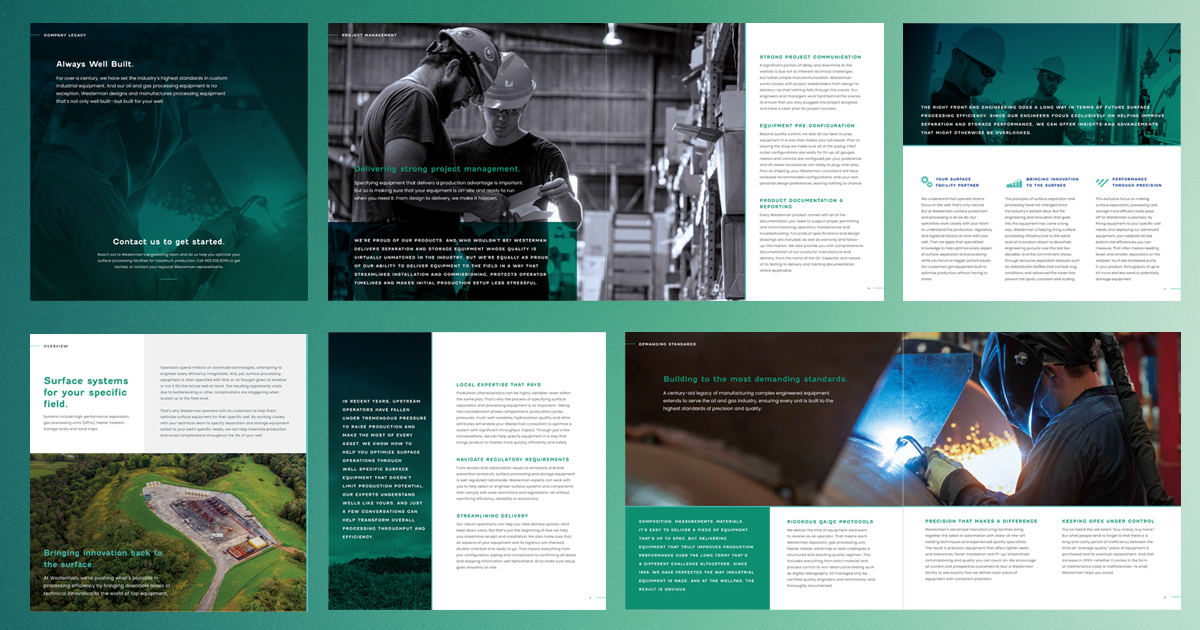 grid display of print collateral sales sheet redesign on green gradient background