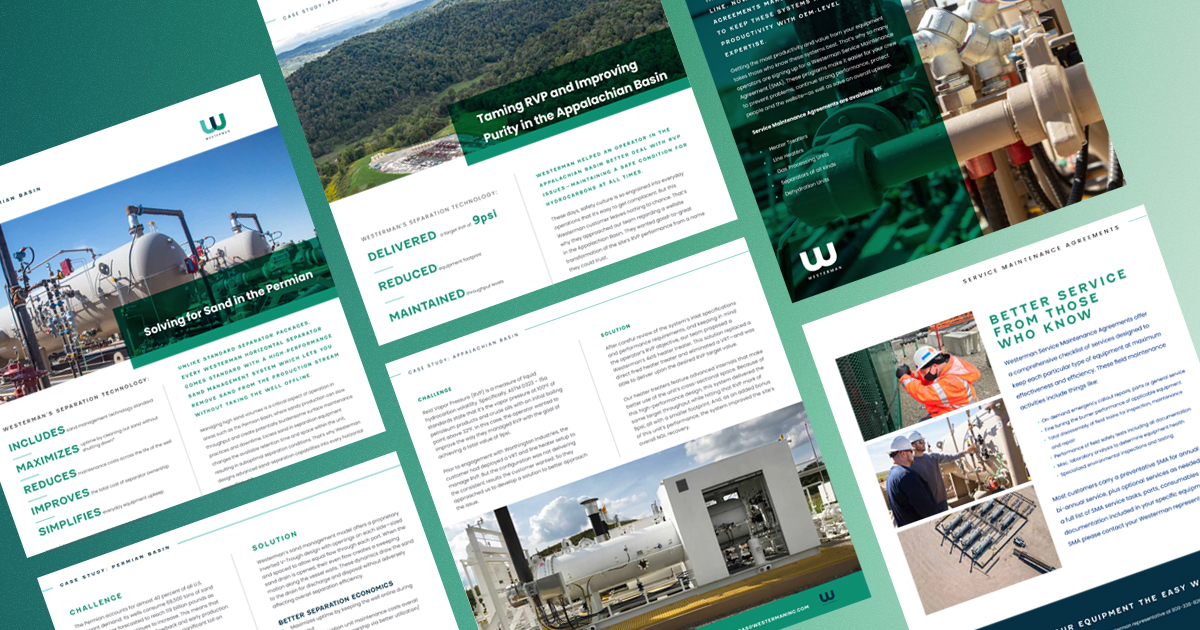 diagnally displayed print collateral marketing pieces on green gradient background