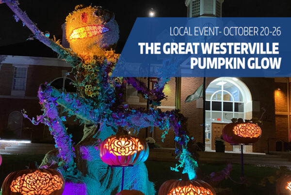 """Uptown Westerville pumpkin display with text overlay """"local event-october 20-26, The Great Westerville Pumpkin glow"""""""