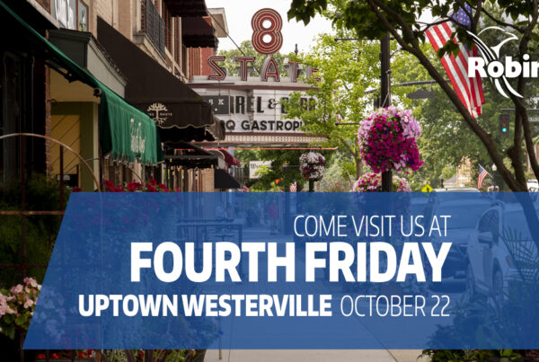 """street in uptown westerville with text overlay """"come visit us at Fourth Friday, uptown westerville, October 22"""""""